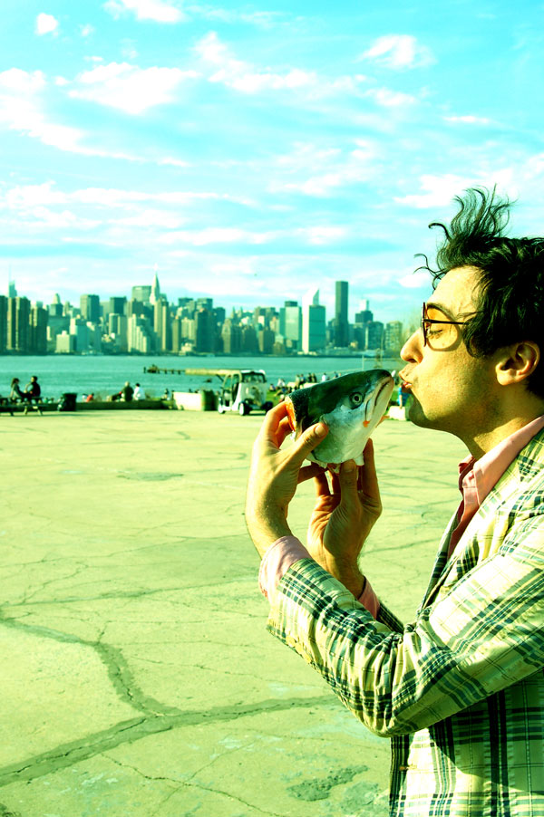 New York Night Train's Jonathan Toubin making out with a fish-head by Eleanor Logan